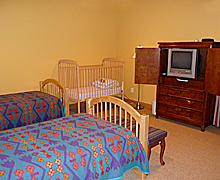 Bedroom with 2 Twins & Crib